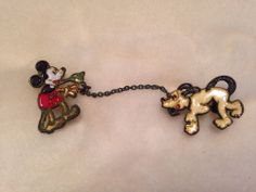 Mickey Mouse and Pluto Sweater Clasp (1930's)