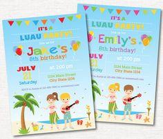 Luau Birthday Invitation Luau Invite Hawaiian by PixeleenDesigns