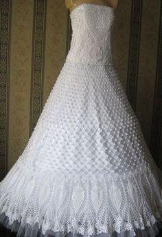 Подарки ручной работы, купить сувениры, авторские изделия и эксклюзивные вещи - продажа по выгодным ценам, украшения ручной работы - платье свадебное вязаное: Crochet Wedding Dress Pattern, Crochet Wedding Dresses, Wedding Dress Patterns, Bridal Dresses, Crochet Dresses, Tunic Dresses, Dress Wedding, Crochet Shirt, Hand Crochet
