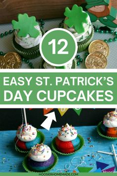12 St. Patrick's Day Cupcakes! With 12 different creative recipes there's sure to be something for everyone here. These cupcakes are festive and delicious. Decorate your table with one or more of these tasty St. Patricks Day cupcakes!