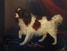 A Portrait of the King Charles Spaniel Grisi by George Cole 1837 copyright Private Collection
