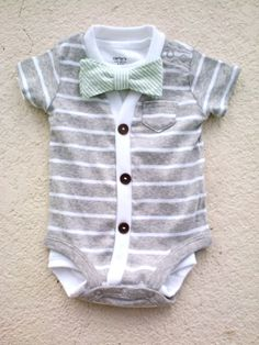 Cardigan and Bow Tie Onesie Set  Grey with Mint Green by HaddonCo, $40.00