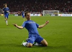 Ivanovic celebrating the winning goal. #Chelsea #BranislavIvanovic