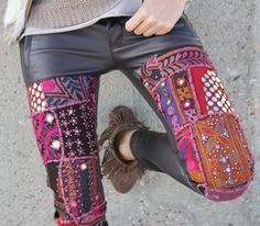 I want to learn how to make a pair of pants like this!!! badass :) Boho embroidery & leather. Yes! Via Mytenida.