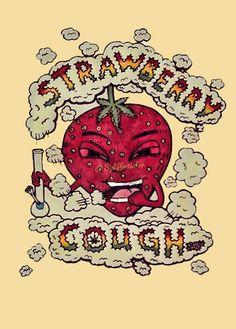 That strawberry tho Ganja, Marijuana Art, Cannabis Oil, Medical Marijuana, Stoner Art, Stoner Quotes, Weed Art, Weed Humor, Mary J
