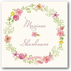 Pretty Wreath - Custom Gift Tag Stickers in Medium Pink | Lady Jae Designs