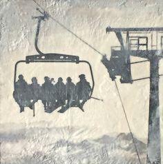 On the Lift encaustic ski painting by Lee Anne LaForge Bear Paintings, Cute Paintings, Sports Painting, Artist Sketchbook, Winter Art, Canadian Artists, Painted Doors, Winter Landscape, Landscape Paintings