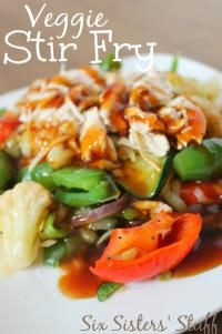 Six Sisters Easy Vegetable Stir Fry is so delicious with a mandarin sauce!