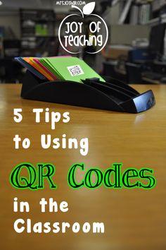 Organizational ways to use QR codes - from Mrs. Joy Hall's Blog, The Joy of Teaching