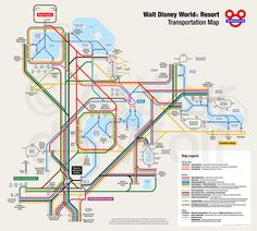 This Walt Disney World transportation map shows all buses, monorails, boats and other official Disney transportation in a city metro-style map. I made the map in Adobe Illustrator. Click to see a larger version on Flickr.