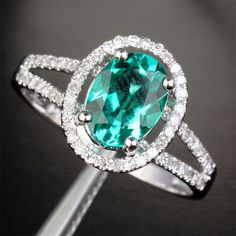 Emerald Engagement Ring Diamond Halo Split Shank 14K White Gold, 6x8mm Oval Stone Options: Morganite/Tanzanite/Aquamarine/Kunzite/Amethyst on Etsy, $395.00