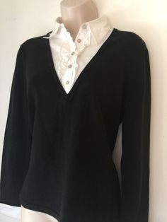 NWT CHICO'S Black Silk Dickie Knit Top Sweater Over Tuxedo Shirt Black White 0 S - http://www.ebay.com/itm/322073836089?rmvSB=true
