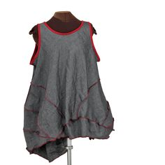 Pewter Zeppelin: billowy pewter and red linen lagenlook tunic - Secret Lentil Clothing