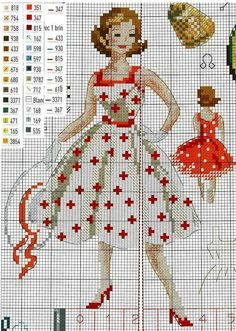 0 point de croix femme robe - cross stitch vintage lady in dress