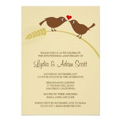 Love Birds On Wheat - Wedding Anniversary Invitations