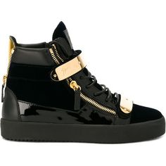 Giuseppe Zanotti Design gold embellished high-top sneakers ($895) ❤ liked on Polyvore featuring men's fashion, men's shoes, men's sneakers, black, mens flat shoes, mens black sneakers, mens gold shoes, black and gold mens sneakers and mens black high top sneakers