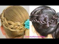 Peinados Para Ninas*Trenza de Cuatro con Torcidos* Peinados Faciles