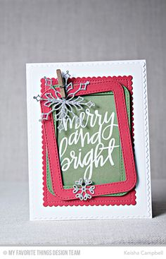 Hand-Lettered Christmas Stamp Set, Stylish Snowflakes Die-namics, Stitched Rounded Rectangle Frames Die-namics, Stitched Mini Scallop Rectangle STAX Die-namics - Keisha Campbell  #mftstamps