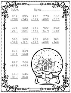 Three Digit Subtraction With Regrouping Christmas Theme Free Christmas themed three digit subtraction with regrouping.Free Christmas themed three digit subtraction with regrouping. Second Grade Math, 4th Grade Math, Grade 3, Math Resources, Math Activities, Subtraction Worksheets, Subtraction Regrouping, Addition Worksheets, Christmas Math Worksheets