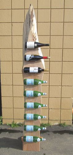 Live Edge Free Standing Wine Rack Stand by WoodWallWonders on Etsy Wine Rack For Towels, Homemade Wine Rack, Standing Wine Rack, Built In Wine Rack, Rustic Wine Racks, Wine Rack Cabinet, Wine Bottle Rack, Diy Hanging, Wine Storage