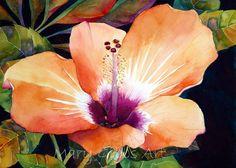 Hibiscus. Lots of beautiful watercolor flowers.