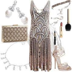 A fashion look from March 2013 featuring high heel platform sandals, metallic clutches and vintage style jewelry. Browse and shop related looks.