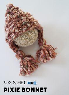 Crochet Pixie Bonnet - Free Pattern - B. Crochet Kids Hats, Free Crochet, Crocheted Hats, Hat Crochet, Bonnet Pattern, Free Pattern, Crochet Patterns For Beginners, Crochet Projects, Crochet Ideas