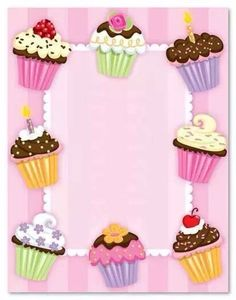 Cupcake Pictures, Cupcake Images, Cupcake Art, Birthday Frames, Birthday Cards, Happy Birthday, Birthday Parties, Diy And Crafts, Paper Crafts