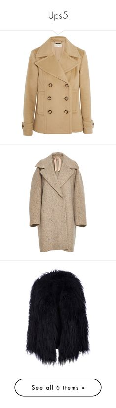 """""""Ups5"""" by zemaasg ❤ liked on Polyvore featuring outerwear, coats, jackets, coats & jackets, wool blend peacoat, camel peacoat, wool blend coat, camel pea coat, double-breasted coat and tan"""