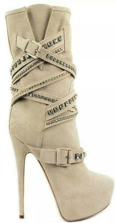 Casadei~ beige suede half boots have buckles covered with Swarovski strass Hot Shoes, Crazy Shoes, Me Too Shoes, Shoes Heels, High Heel Boots, Heeled Boots, Bootie Boots, Ankle Boots, Stiletto Boots