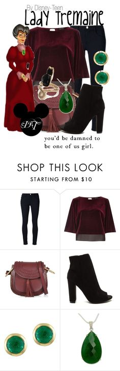 """""""Lady Tremaine"""" by disney-teen ❤ liked on Polyvore featuring Frame, River Island, See by Chloé, Effy Jewelry, NOVICA, disney, cinderella, disneybound and disneyfashion"""