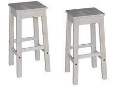 Lot de 2 tabourets de bar en pin massif blanchi SARAYA coloris blanc vieilli - Vente de Chaise de cuisine - Conforama
