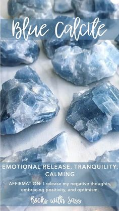 Raw Blue Calcite Pocket Stone — Rocks with Sass Crystal Healing Stones, Crystal Magic, Stones And Crystals, Gem Stones, Blue Crystals, Blue Stones, Minerals And Gemstones, Crystals Minerals, Blue Calcite