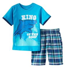 "Toddler Boy Boyzwear ""King of the Reef"" Shark Graphic Tee & Plaid Shorts Set, Size: 2T, Blue"