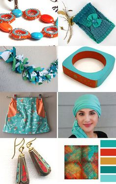 Tangerine and Turquoise by Melissa on Etsy--Pinned with TreasuryPin.com