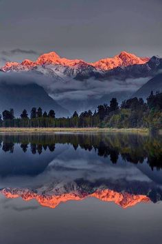Sunset Reflection Of Lake Matheson in New Zealand, photo by Colin Monteath