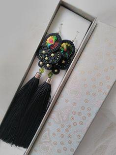 Long black & green soutache earrings. Handmade earrings. Tassels earrings. Green earrings. Black earrings Boho jewelry
