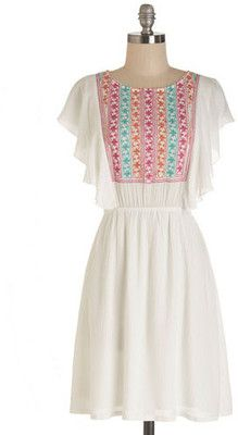 ModCloth Boho Mid-length Short Sleeves A-line Wonderfully With It Dress