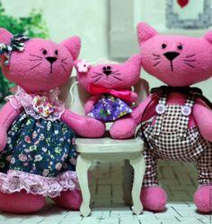 Купить семья котиков - розовый, семья, семья котиков, кот, коты, кошка, котенок, игрушка