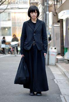 Tokyo street style, in Yohji Yamamoto