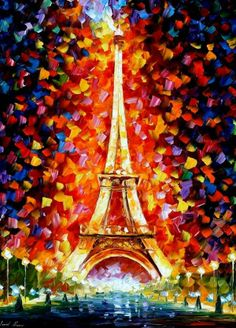 I would like to present my hand painted oil on canvas painting Eiffel Tower Lighted - oil painting. I made this piece with the same amount of soul and e. Eiffel Tower Lighted by Leonid Afremov Oil Painting On Canvas, Painting Prints, Canvas Wall Art, Paris Painting, Painting Art, Knife Painting, Family Painting, Acrylic Canvas, Canvas Canvas