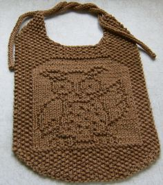 Down Cloverlaine: Whooo Loves Ya, Baby? This site has a ton of free baby bib and dish cloth patterns all just as cute as this one. by alberta Knitting For Kids, Baby Knitting Patterns, Free Knitting, Knitting Projects, Crochet Baby Bibs, Knit Or Crochet, Crochet For Kids, Knitted Washcloths, Knit Dishcloth