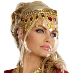 Fit for a queen, add this dazzling headpiece to any royal costume for instant glam, featuring dangling faux ruby stones and gold coins. Bedazzling Ruby and Gold Coin Crown, Nefertiti Costume, Princess Costumes For Adults Egyptian Headpiece, Gold Headpiece, Egyptian Costume, Headdress, Nefertiti Costume, Egyptian Party, Gypsy Headpiece, Headpiece Jewelry, Halloween Accessories