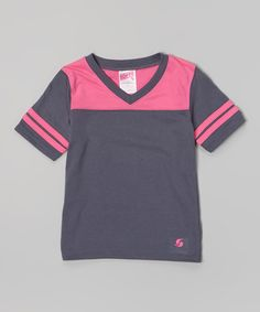 Look at this #zulilyfind! Gunmetal & Pink Glo Football Tee by Soffe #zulilyfinds