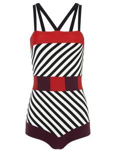 White Stripe Maeva Swimsuit | Roksanda Ilincic | Avenue32
