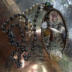 Beveled Glass Soldered Rosary Necklace, etsy