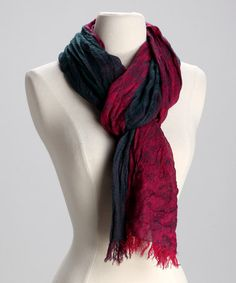Take a look at this Fuchsia & Teal Flower Cashmere Tissue Scarf by Blue Pacific Fashion on #zulily today!