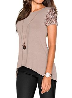 380da195d517  16 Amazon WLLW Women Khaki Asymmetric Hem Short Sleeve with Sequin Inserts  Shirt Top