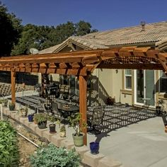 Shop online for Pergolas at Forever Redwood. Hand-crafted Arched Pergola Kits available in custom sizes, shapes, and wood grades. Curved Pergola, Deck With Pergola, Outdoor Pergola, Pergola Kits, Backyard Patio, Backyard Landscaping, Gazebo, Hot Tub Garden, Dream Garden