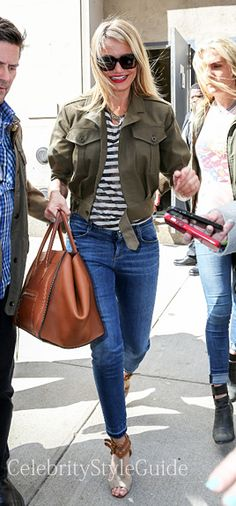 Seen on Celebrity Style Guide: Cameron Diaz wore this khaki silk and cotton aviator jacket and a friendly smile as she leaves a guest interview at Sirius XM Studios in New York City. Cameron and her co-stars have been hard at work as they promote �The Other Woman� across the globe  April 23, 2014   Get It Here: http://rstyle.me/~1X76Q